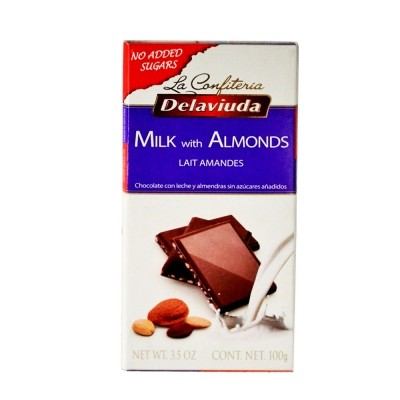 Delaviuda - Sugar Free Milk Chocolate With Almonds 100 gm Pack