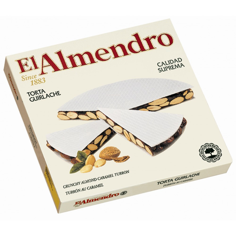 El Almendro - Crunchy Almond Caramel Turron Round 200 gm Pack