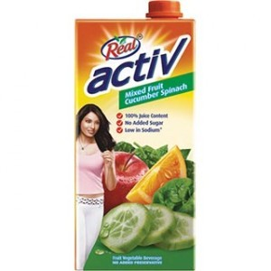 Real Activ - Mixed Fruit Cucumber Spinach Vegetable Juice 1 lt Packing