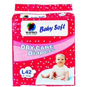 Wipro Baby Soft Dry Care Diapers - Large 8-14 kg